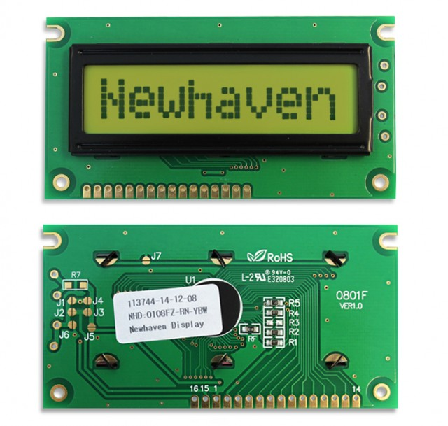 Newhaven NHD-0108FZ-RN-YBW Newhaven 1 x 8 Characters Reflective LCD Character Display @ 5V and 8-Bit Parallel Interface with 1x16 Bottom Connector and SPLC780D OR ST7066U Controller. PN - NHD-0108FZ-RN-YBW (Product Image)