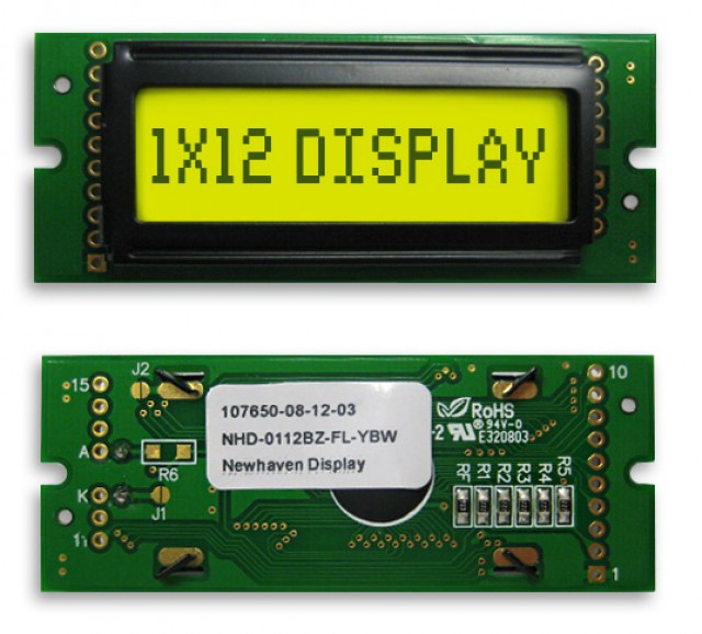 Newhaven NHD-0112BZ-FL-YBW Newhaven 1 x 12 Characters Transflective LCD Character Display Using 8-Bit Parallel Interface and 1x10 Left Connector. (Product Image)