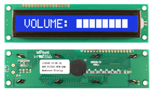 Newhaven NHD-0116DZ-NSW-BBW Newhaven 1 x 16 Characters Transmissive LCD Character Display Using 8-Bit Parallel Interface and 1x16 Top Connector. (Product Image)