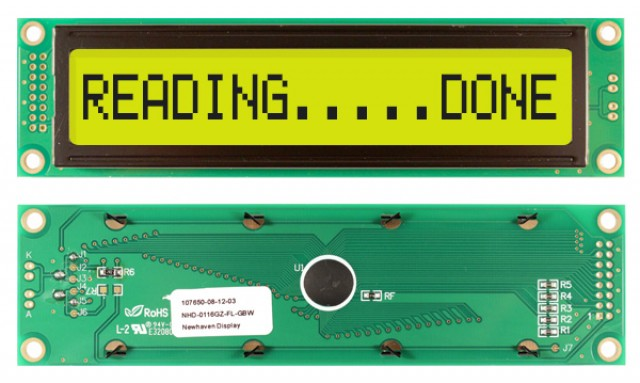 Newhaven Display NHD-0116GZ-FL-GBW Newhaven 1 x 16 Characters Transflective LCD Character Display @ 5V and 8-Bit Parallel Interface with 2x8 Left Connector and SPLC780D OR ST7066U Controller. PN - NHD-0116GZ-FL-GBW (Product Image)