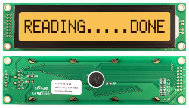 Newhaven NHD-0116GZ-FSA-FBW Newhaven 1 x 16 Characters Transflective LCD Character Display Using 8-Bit Parallel Interface and 2x8 Left Connector. (Product Image)