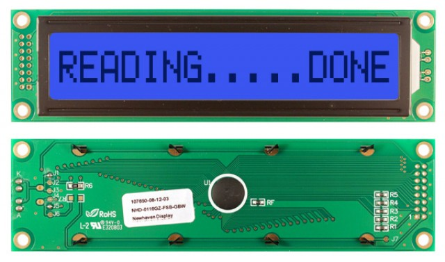 Newhaven NHD-0116GZ-FSB-GBW Newhaven 1 x 16 Characters Transflective LCD Character Display @ 5V and 8-Bit Parallel Interface with 2x8 Left Connector and SPLC780D OR ST7066U Controller. PN - NHD-0116GZ-FSB-GBW (Product Image)