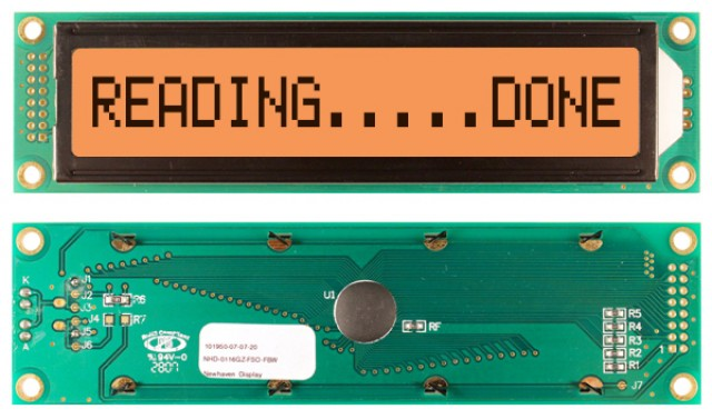 Newhaven NHD-0116GZ-FSO-FBW Newhaven 1 x 16 Characters Transflective LCD Character Display Using 8-Bit Parallel Interface and 2x8 Left Connector. (Product Image)