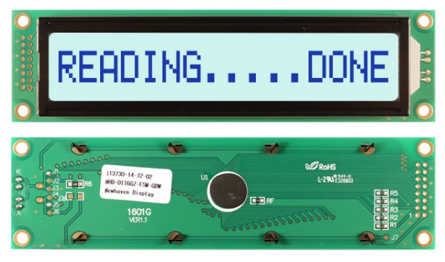 Newhaven NHD-0116GZ-FSW-GBW Newhaven 1 x 16 Characters Transflective LCD Character Display Using 8-Bit Parallel Interface and 2x8 Left Connector. (Product Image)