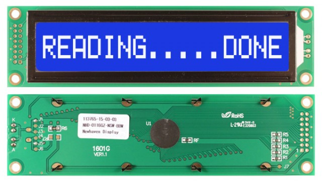 Newhaven Display NHD-0116GZ-NSW-BBW Newhaven 1 x 16 Characters Transmissive LCD Character Display @ 5V and 8-Bit Parallel Interface with 2x8 Left Connector and SPLC780D OR ST7066U Controller. PN - NHD-0116GZ-NSW-BBW (Product Image)