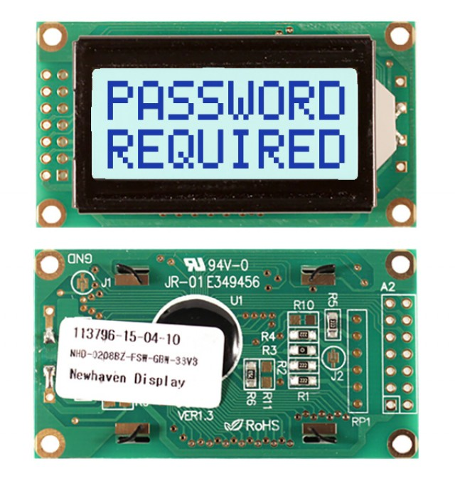 Newhaven NHD-0208BZ-FSW-GBW-33V3 Newhaven 2 x 8 Characters Transflective LCD Character Display @ 3.3V and 8-Bit Parallel Interface with 2x7 Left Connector and SPLC780D OR ST7066U Controller. PN - NHD-0208BZ-FSW-GBW-33V3 (Product Image)