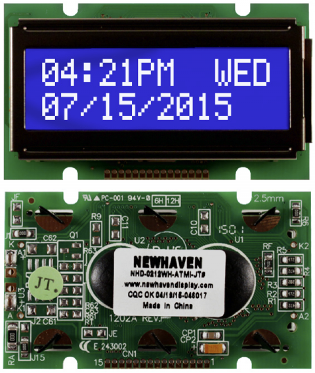 Newhaven NHD-0212WH-ATMI-JT# Newhaven 2 x 12 Characters Transmissive LCD Character Display @ 5V and 8-Bit Parallel Interface with 1x15 Bottom Connector and ST7066 Controller. PN - NHD-0212WH-ATMI-JT# (Product Image)