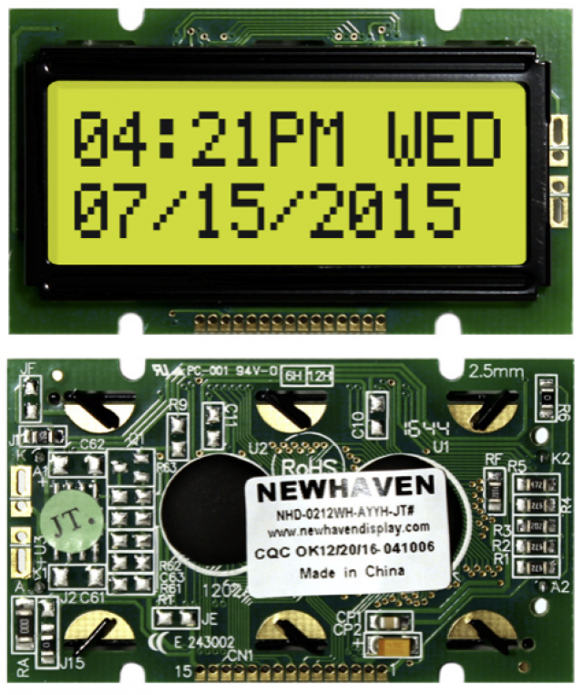 Newhaven NHD-0212WH-AYYH-JT# Newhaven 2 x 12 Characters Transflective LCD Character Display @ 5V and 8-Bit Parallel Interface with 1x15 Bottom Connector and ST7066 Controller. PN - NHD-0212WH-AYYH-JT# (Product Image)
