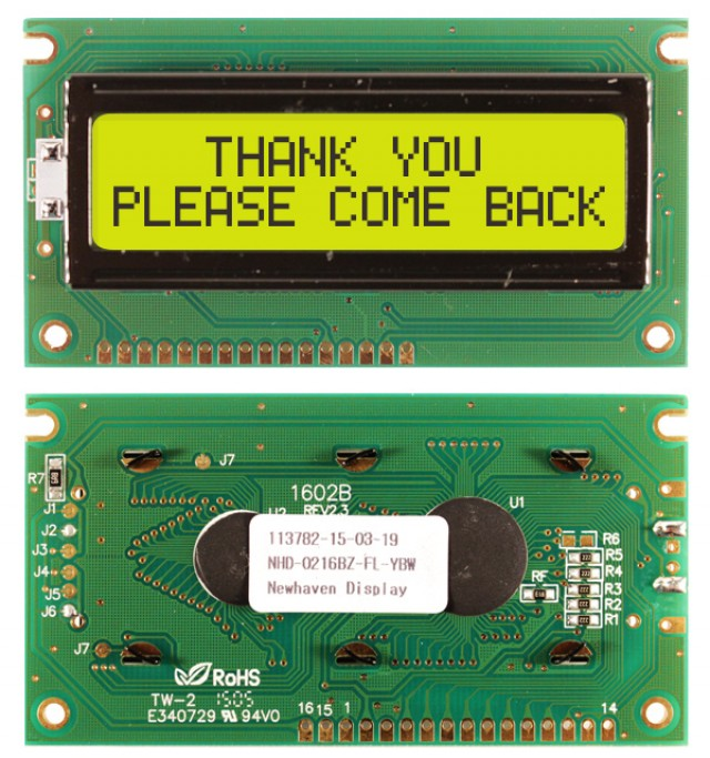 Newhaven NHD-0216BZ-FL-YBW Newhaven 2 x 16 Characters Transflective LCD Character Display Using 8-Bit Parallel Interface and 1x16 Bottom Connector. (Product Image)