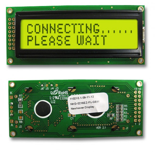 Newhaven NHD-0216EZ-FL-GBW Newhaven 2 x 16 Characters Transflective LCD Character Display @ 5V and 8-Bit Parallel Interface with 2x8 Left Connector and SPLC780D OR ST7066U Controller. PN - NHD-0216EZ-FL-GBW (Product Image)