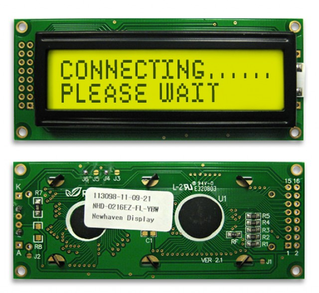 Newhaven Display NHD-0216EZ-FL-YBW Newhaven 2 x 16 Characters Transflective LCD Character Display @ 5V and 8-Bit Parallel Interface with 2x8 Left Connector and SPLC780D OR ST7066U Controller. PN - NHD-0216EZ-FL-YBW (Product Image)