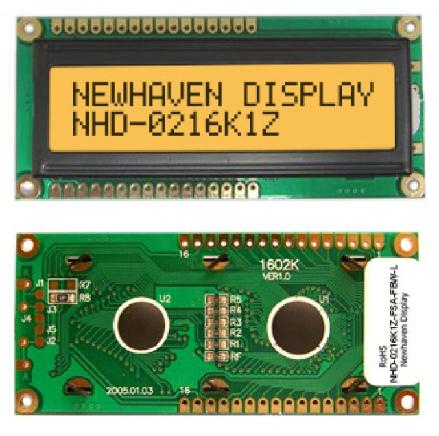 Newhaven NHD-0216K1Z-FSA-FBW-L Newhaven 2 x 16 Characters Transflective LCD Character Display Using 8-Bit Parallel Interface and 1x16 Top/Bot Connector. (Product Image)