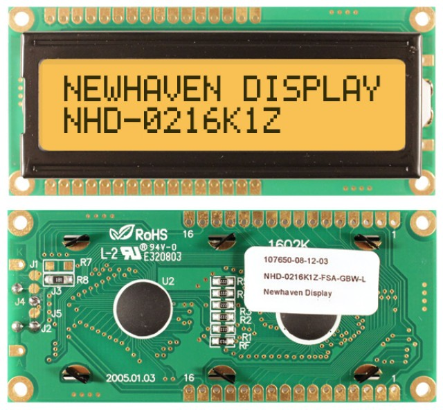 Newhaven NHD-0216K1Z-FSA-GBW-L Newhaven 2 x 16 Characters Transflective LCD Character Display @ 5V and 8-Bit Parallel Interface with 1x16 Top/Bot Connector and SPLC780D OR ST7066U Controller. PN - NHD-0216K1Z-FSA-GBW-L (Product Image)