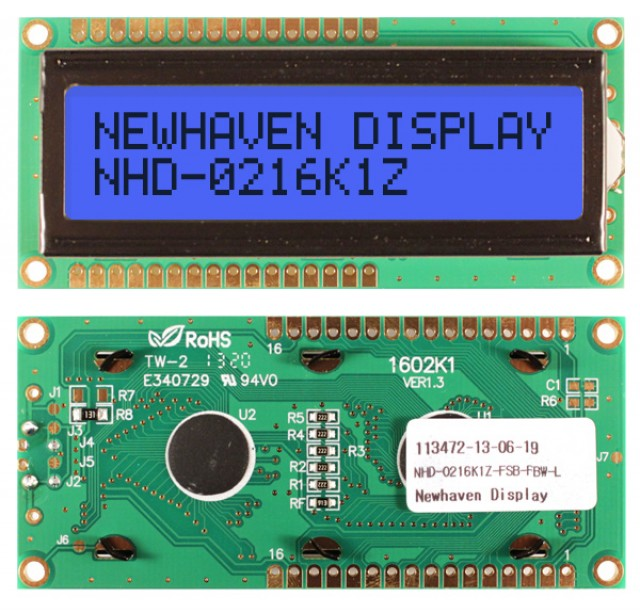 Newhaven NHD-0216K1Z-FSB-FBW-L Newhaven 2 x 16 Characters Transflective LCD Character Display Using 8-Bit Parallel Interface and 1x16 Top/Bot Connector. (Product Image)