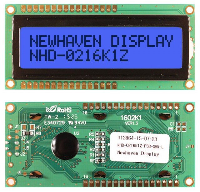 Newhaven NHD-0216K1Z-FSB-GBW-L Newhaven 2 x 16 Characters Transflective LCD Character Display @ 5V and 8-Bit Parallel Interface with 1x16 Top/Bot Connector and SPLC780D OR ST7066U Controller. PN - NHD-0216K1Z-FSB-GBW-L (Product Image)