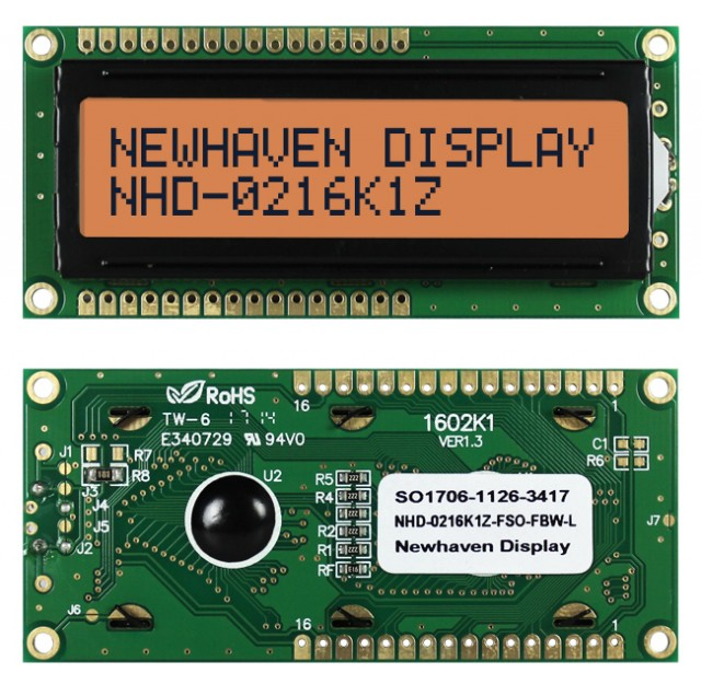 Newhaven Display NHD-0216K1Z-FSO-FBW-L Newhaven 2 x 16 Characters Transflective LCD Character Display @ 5V and 8-Bit Parallel Interface with 1x16 Top/Bot Connector and SPLC780D OR ST7066U Controller. PN - NHD-0216K1Z-FSO-FBW-L (Product Image)