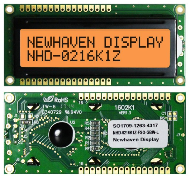 Newhaven Display NHD-0216K1Z-FSO-GBW-L Newhaven 2 x 16 Characters Transflective LCD Character Display @ 5V and 8-Bit Parallel Interface with 1x16 Top/Bot Connector and SPLC780D OR ST7066U Controller. PN - NHD-0216K1Z-FSO-GBW-L (Product Image)