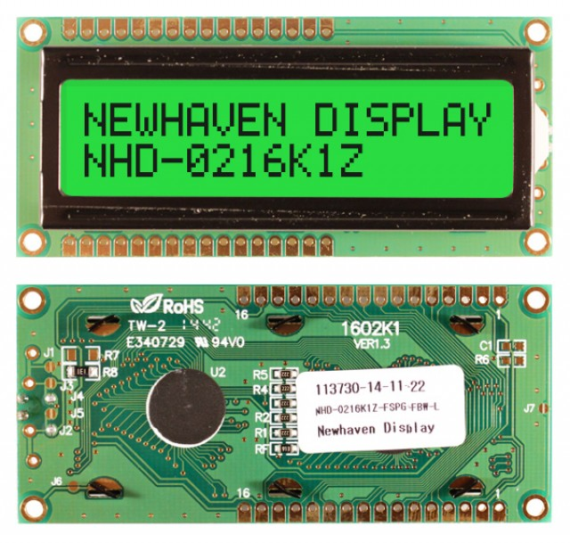 Newhaven Display NHD-0216K1Z-FSPG-FBW-L Newhaven 2 x 16 Characters Transflective LCD Character Display @ 5V and 8-Bit Parallel Interface with 1x16 Top/Bot Connector and SPLC780D OR ST7066U Controller. PN - NHD-0216K1Z-FSPG-FBW-L (Product Image)