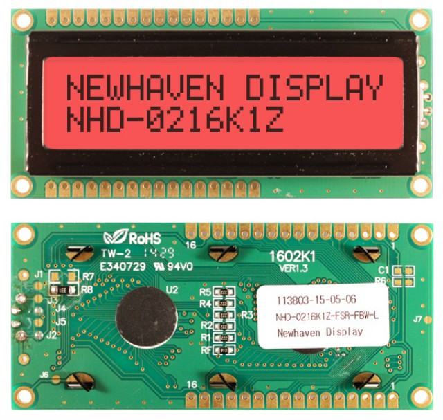 Newhaven NHD-0216K1Z-FSR-FBW-L Newhaven 2 x 16 Characters Transflective LCD Character Display @ 5V and 8-Bit Parallel Interface with 1x16 Top/Bot Connector and SPLC780D OR ST7066U Controller. PN - NHD-0216K1Z-FSR-FBW-L (Product Image)