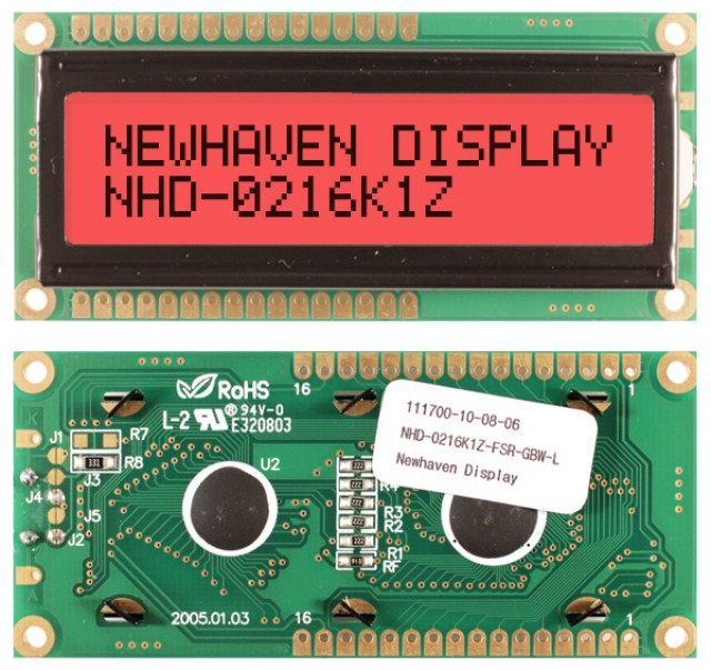Newhaven NHD-0216K1Z-FSR-GBW-L Newhaven 2 x 16 Characters Transflective LCD Character Display Using 8-Bit Parallel Interface and 1x16 Top/Bot Connector. (Product Image)
