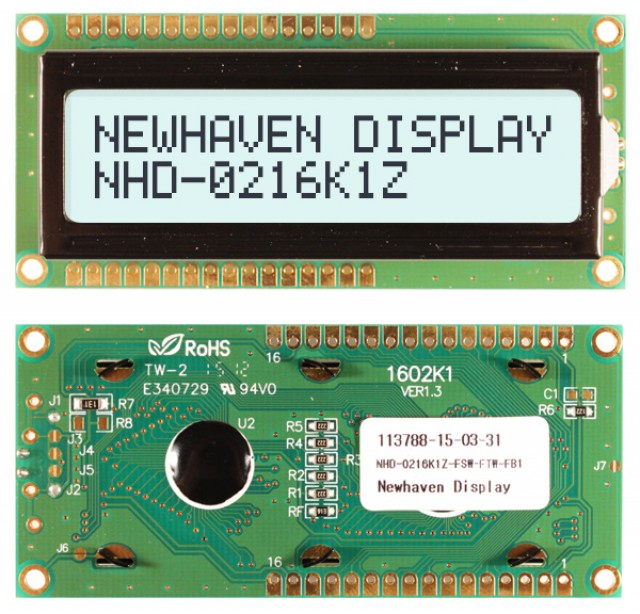 Newhaven NHD-0216K1Z-FSW-FTW-FB1 Newhaven 2 x 16 Characters Transflective LCD Character Display - Backlight always ON; Fixed contrast @ 5V and 8-Bit Parallel Interface with 1x16 Top/Bot Connector and SPLC780D OR ST7066U Controller. PN - NHD-0216K1Z-FSW-FTW-FB1 (Product Image)