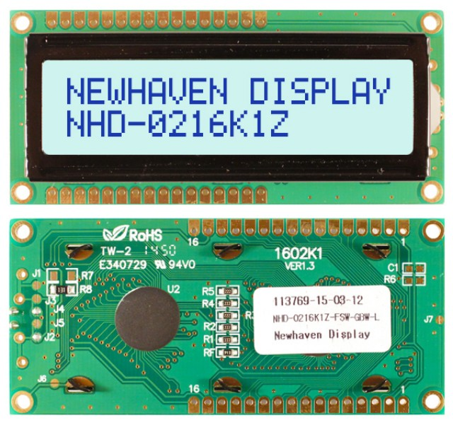 Newhaven Display NHD-0216K1Z-FSW-GBW-L Newhaven 2 x 16 Characters Transflective LCD Character Display @ 5V and 8-Bit Parallel Interface with 1x16 Top/Bot Connector and SPLC780D OR ST7066U Controller. PN - NHD-0216K1Z-FSW-GBW-L (Product Image)