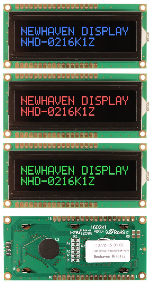 Newhaven NHD-0216K1Z-NS(RGB)-FBW-Rev1 Newhaven 2 x 16 Characters Transmissive LCD Character Display @ 5V and 8-Bit Parallel Interface with 1x16 Top/Bot Connector and SPLC780D OR ST7066U Controller. PN - NHD-0216K1Z-NS(RGB)-FBW-Rev1 (Product Image)