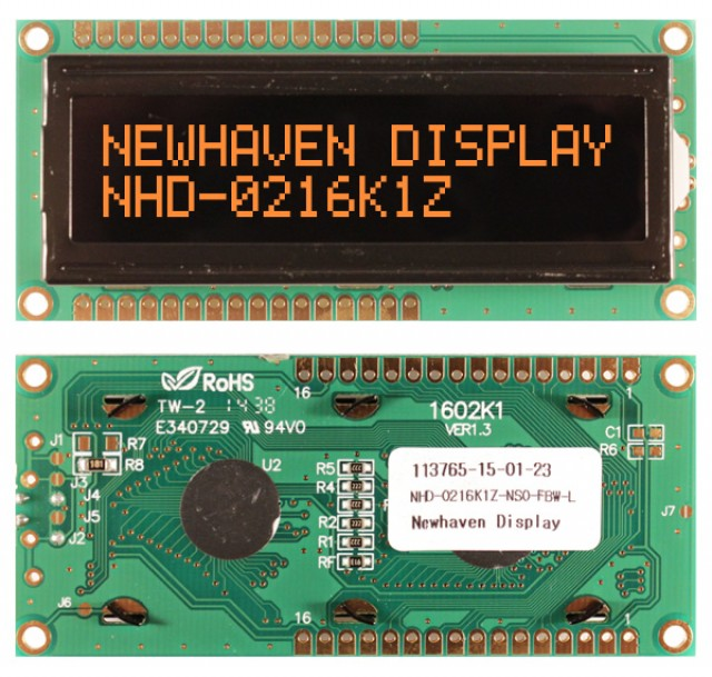 Newhaven NHD-0216K1Z-NSO-FBW-L Newhaven 2 x 16 Characters Transmissive LCD Character Display Using 8-Bit Parallel Interface and 1x16 Top/Bot Connector. (Product Image)