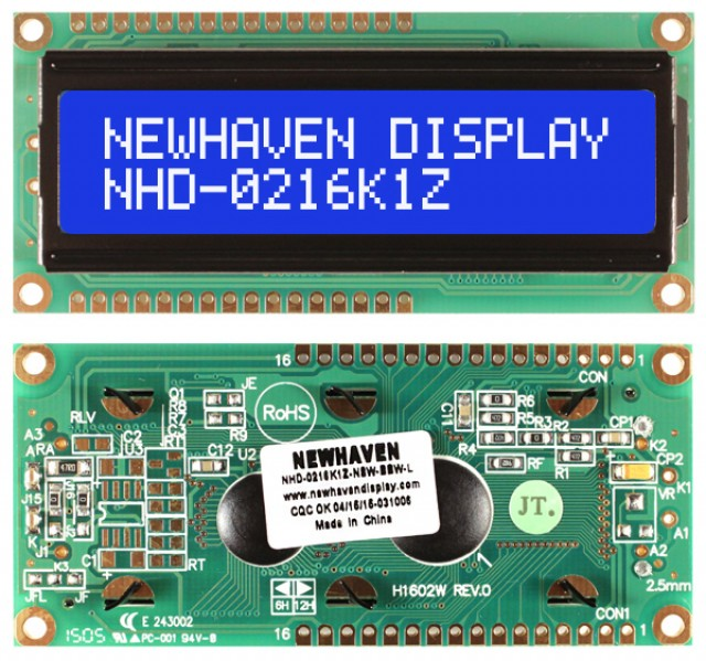 Newhaven NHD-0216K1Z-NSW-BBW-L Newhaven 2 x 16 Characters Transmissive LCD Character Display @ 5V and 8-Bit Parallel Interface with 1x16 Top/Bot Connector and SPLC780D OR ST7066U Controller. PN - NHD-0216K1Z-NSW-BBW-L (Product Image)