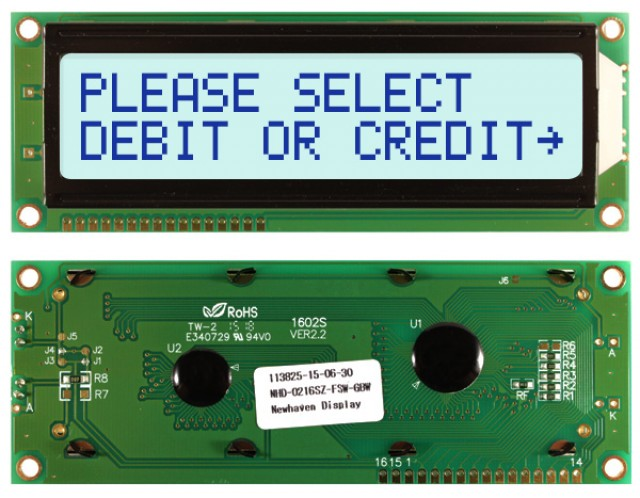 Newhaven NHD-0216SZ-FSW-GBW Newhaven 2 x 16 Characters Transflective LCD Character Display Using 8-Bit Parallel Interface and 1x16 Bottom Connector. (Product Image)