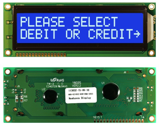 Newhaven NHD-0216SZ-NSW-BBW-33V3 Newhaven 2 x 16 Characters Transmissive LCD Character Display Using 8-Bit Parallel Interface and 1x16 Bottom Connector. (Product Image)