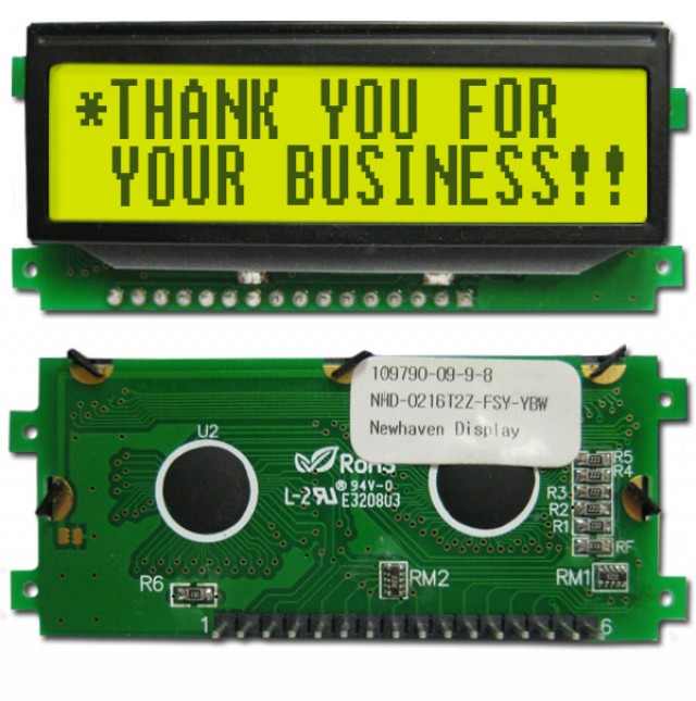 Newhaven NHD-0216T2Z-FSY-YBW-P Newhaven 2 x 16 Characters Transflective LCD Character Display w/ pin header Using 8-Bit Parallel Interface and 1 x 16 bottom Connector. (Product Image)