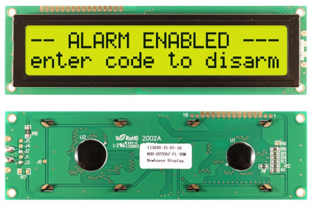 Newhaven NHD-0220AZ-FL-YBW Newhaven 2 x 20 Characters Transflective LCD Character Display Using 8-Bit Parallel Interface and 1x16 Top Connector. (Product Image)
