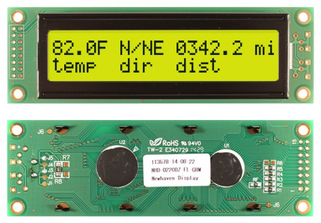 Newhaven NHD-0220DZ-FL-GBW Newhaven 2 x 20 Characters Transflective LCD Character Display Using 8-Bit Parallel Interface and 2x8 Left Connector. (Product Image)