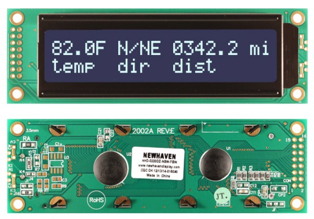 Newhaven NHD-0220DZ-NSW-FBW Newhaven 2 x 20 Characters Transmissive LCD Character Display Using 8-Bit Parallel Interface and 2x8 Left Connector. (Product Image)