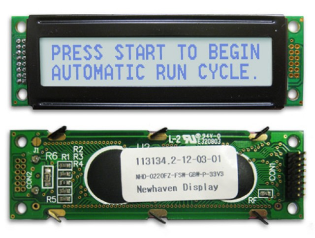 Newhaven Display NHD-0220FZ-FSW-GBW-P-33V3 Newhaven 2 x 20 Characters Transflective LCD Character Display @ 3.3V and 8-Bit Parallel Interface with 2x8 L; 2x8 R Connector and SPLC780D OR ST7066U Controller. PN - NHD-0220FZ-FSW-GBW-P-33V3 (Product Image)