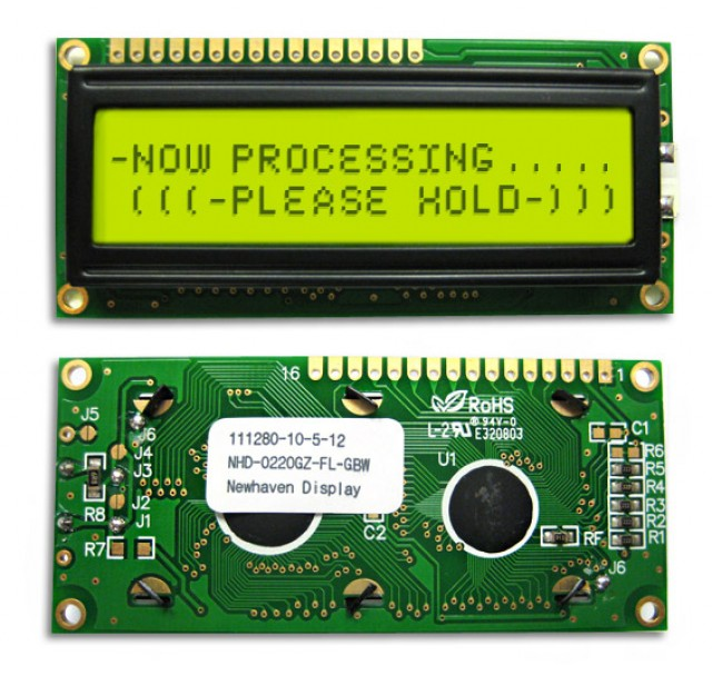 Newhaven NHD-0220GZ-FL-GBW Newhaven 2 x 20 Characters Transflective LCD Character Display Using 8-Bit Parallel Interface and 1x16 Top Connector. (Product Image)