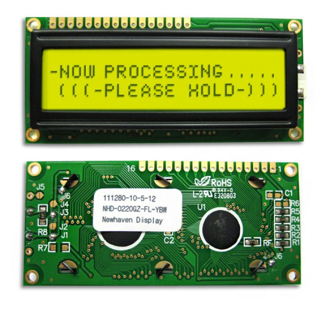 Newhaven NHD-0220GZ-FL-YBW Newhaven 2 x 20 Characters Transflective LCD Character Display Using 8-Bit Parallel Interface and 1x16 Top Connector. (Product Image)