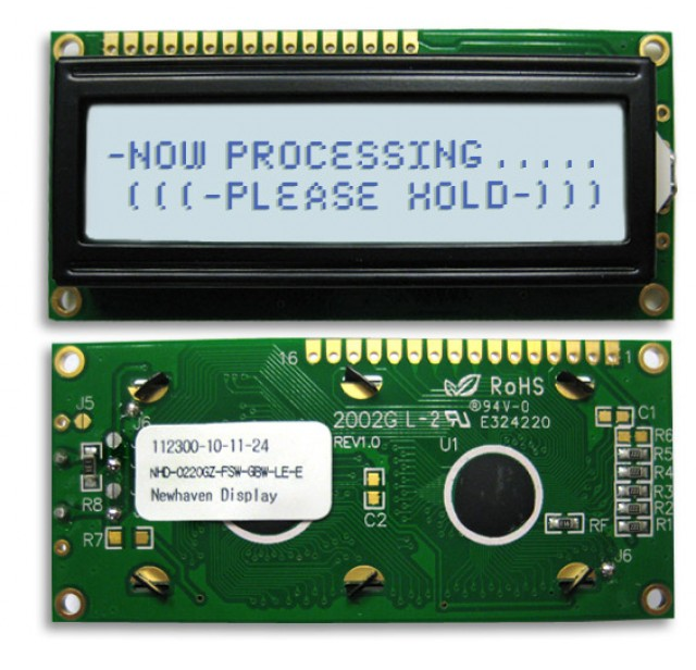 Newhaven NHD-0220GZ-FSW-GBW-LE-E Newhaven 2 x 20 Characters Transflective LCD Character Display w/ Euro font Using 8-Bit Parallel Interface and 1x16 Top Connector. (Product Image)