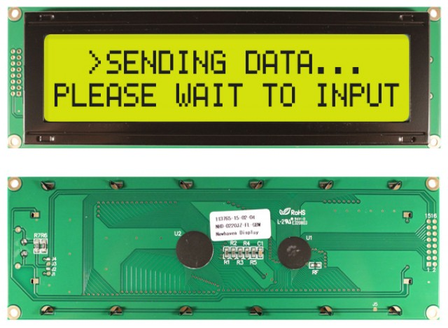 Newhaven NHD-0220JZ-FL-GBW Newhaven 2 x 20 Characters Transflective LCD Character Display @ 5V and 8-Bit Parallel Interface with 1x16 Left Connector and S6A0069 Controller. PN - NHD-0220JZ-FL-GBW (Product Image)