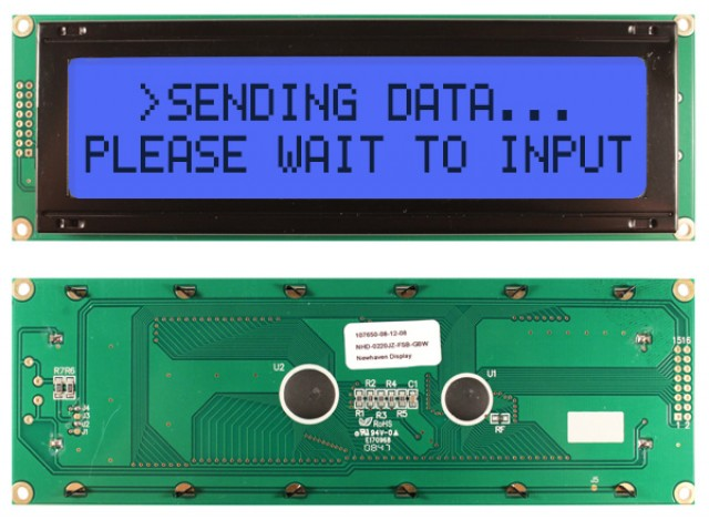 Newhaven NHD-0220JZ-FSB-GBW Newhaven 2 x 20 Characters Transflective LCD Character Display Using 8-Bit Parallel Interface and 1x16 Left Connector. (Product Image)