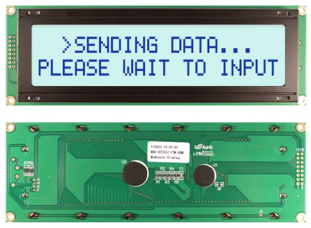 Newhaven NHD-0220JZ-FSW-GBW Newhaven 2 x 20 Characters Transflective LCD Character Display Using 8-Bit Parallel Interface and 1x16 Left Connector. (Product Image)