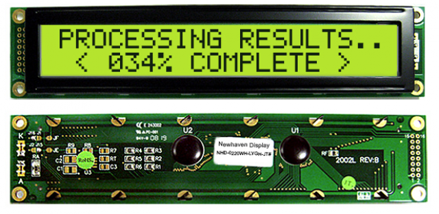 Newhaven NHD-0220WH-LYGH-JT# Newhaven 2 x 20 Characters Transflective LCD Character Display Using 8-Bit Parallel Interface and 2x8 Left Connector. (Product Image)