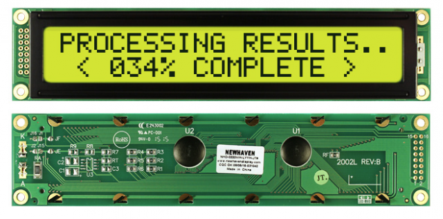 Newhaven NHD-0220WH-LYYH-JT# Newhaven 2 x 20 Characters Transflective LCD Character Display @ 5V and 8-Bit Parallel Interface with 2x8 Left Connector and KS0066U Controller. PN - NHD-0220WH-LYYH-JT# (Product Image)