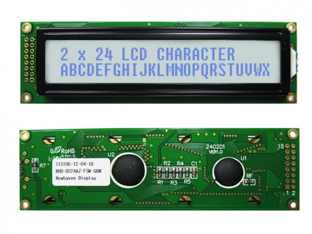 Newhaven Display NHD-0224AZ-FSW-GBW Newhaven 2 x 24 Characters Transflective LCD Character Display @ 5V and 8-Bit Parallel Interface with 2x8 Left Connector and KS0066U Controller. PN - NHD-0224AZ-FSW-GBW (Product Image)