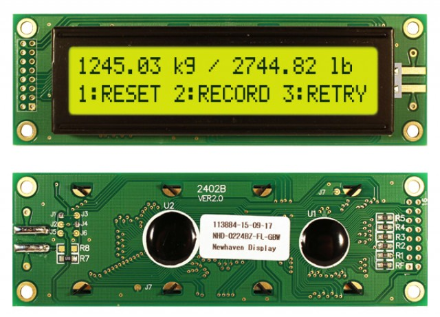 Newhaven Display NHD-0224BZ-FL-GBW Newhaven 2 x 24 Characters Transflective LCD Character Display @ 5V and 8-Bit Parallel Interface with 2x8 Left Connector and KS0066U Controller. PN - NHD-0224BZ-FL-GBW (Product Image)
