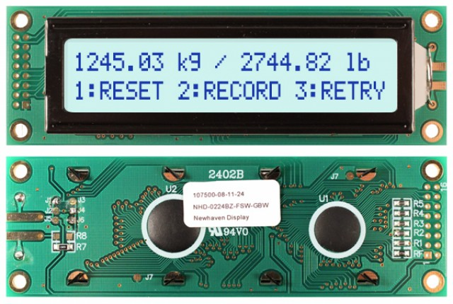 Newhaven NHD-0224BZ-FSW-GBW Newhaven 2 x 24 Characters Transflective LCD Character Display @ 5V and 8-Bit Parallel Interface with 2x8 Left Connector and KS0066U Controller. PN - NHD-0224BZ-FSW-GBW (Product Image)