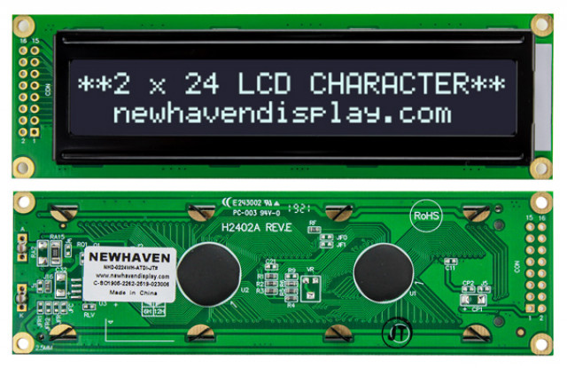 Newhaven Display NHD-0224WH-ATDI-JT# Newhaven 2 x 24 Characters Transmissive LCD Character Display @ 5V and 4-Bit/ 8-Bit Parallel Interface with 2x8 Left Connector and KS0066U Controller. PN - NHD-0224WH-ATDI-JT# (Product Image)