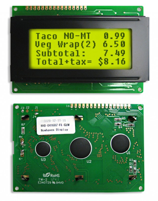 Newhaven Display NHD-0416BZ-FL-GBW Newhaven 4 x 16 Characters Transflective LCD Character Display @ 5V and 8-Bit Parallel Interface with 1x16 Top Connector and SPLC780D OR ST7066U Controller. PN - NHD-0416BZ-FL-GBW (Product Image)