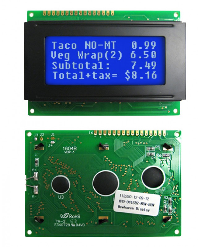 Newhaven NHD-0416BZ-NSW-BBW Newhaven 4 x 16 Characters Transmissive LCD Character Display Using 8-Bit Parallel Interface and 1x16 Top Connector. (Product Image)